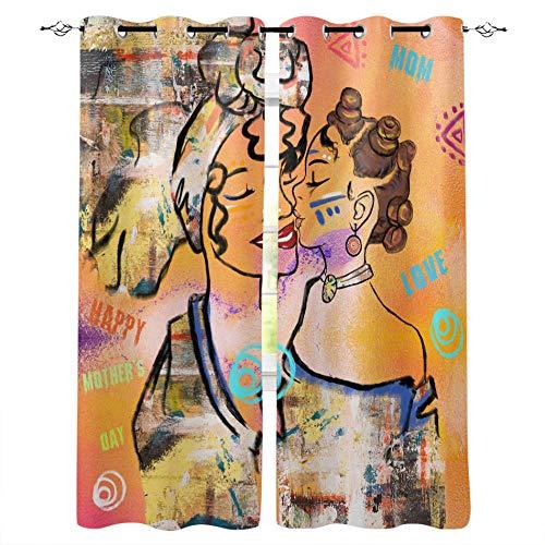 MXYHDZ Cortinas Salón Opacas - Graffiti de Chica Retro - Impresión 3D Aislantes de Frío y Calor 90% Opacas Cortinas - 280 x 245 cm - Salon Cocina Habitacion Niño Moderna Decorativa