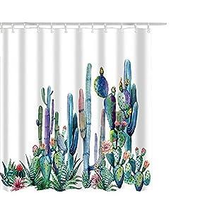 Litthing Cortina de Ducha Anti-Molde Estilo de Planta Verde 180 cm * 180 cm / 12 Anillos de Cortina para el Baño con Vibrante Colores de Impresión Digital en 3D (5)