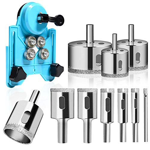 Diamond Drill Bit Set, 11PCS Hollow Core Drill Hole Saw Set with Hole Saw Guidance Fixture, Suitable for Tile, Ceramic, Glass, Porcelain, Marble, DIY Kitchen Bathroom Shower 6-50mm