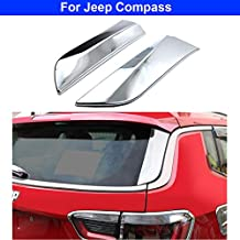 2Pcs Chrome Rear Window Spoiler Side Wing Triangle Cover Trim Molding Garnish Decoration for Jeep Compass 2017 2018 2019