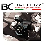 BC Battery Controller 710-P12USBDUAL - Toma de Mechero/Toma Encendedor 12V Estanca con Soporte Universal para Manillar para Moto + Toma Cargador Doble USB
