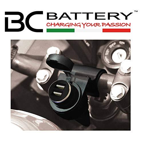 BC Battery Controller 710-P12USBDUAL - Prise 12V Allume Cigare Étanche avec Support Universel au Guidon pour Moto + Double Chargeur/Adapteur USB Extractible