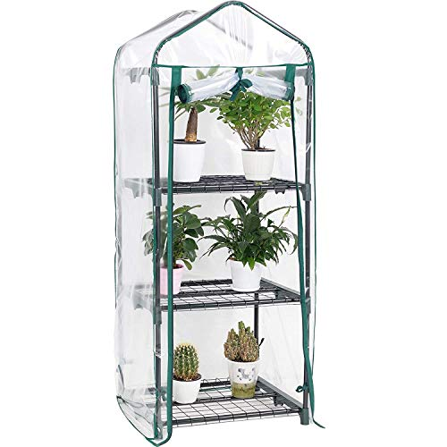 Display4top 3 Tier Mini Greenhouse With Transparent Plastic PVC Cover, Indoor outdoor tent garden greenhouse, Seedlings, Herbs, or Flowers In Any Season-Gardening Rack