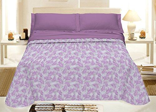 Smartsupershop Tagesdecke für Frühling, Sommer, Doppelbett, 260 x 280 cm, Blätter, lila aus Baumwolle, Jacquard, hergestellt in Italien