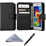S5 Mini Case, Wisdompro Premium PU Leather 2-in-1 Protective Folio Flip Wallet Case with Credit Card Holder/Slots for Samsung Galaxy S5 Mini G800F G800H G800H/DS (NOT Fit S5)- Black
