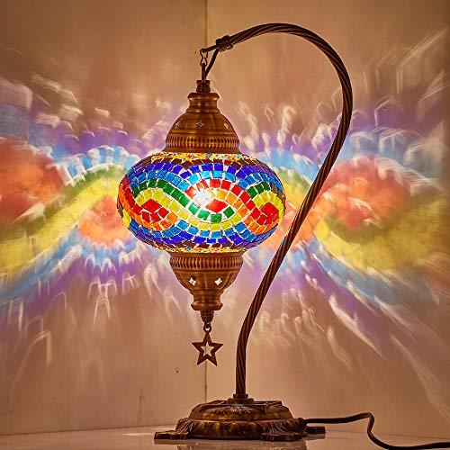Tiffany Style - Lámpara de noche para mesita de noche, diseño de mosaico de arco iris LGBT
