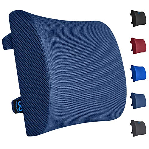Price comparison product image Everlasting Comfort Lumbar Support Pillow for Office Chair - Pure Memory Foam Lumbar Cushion for Car (Navy Blue)