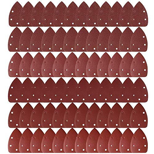 Hook And Loop Detail Sanding Pads Discs 140mm Triangular 80 Grit Medium 100pc