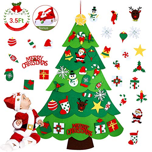 Aitsite DIY Felt Christmas Tree Set - 3.5 FT Xmas Wall Decoration with 26 Ornaments, Wall & Door Hanging Xmas Gifts for Kids, Toddlers, Boys & Girls Party Supplies