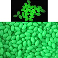 1000 Pieces Soft Plastic Luminous Glow Fishing Beads Eggs Luminous Oval Egg Bead Tool Jigs Rigging Sea Fishing Lure Tackles Artificial Baits Fishing Tackle Tools Eggs (Green, 6mmx8mm)
