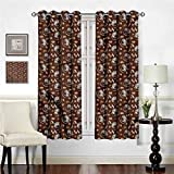 Becanbe W 46' x L 90',Pocket Thermal Insulated Tie Up Curtain,Coffee,Fresh Filter Drink and Cups