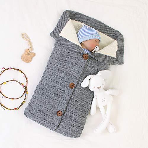 Taotigzu Gigoteuse Bébé Hiver 0-12 Mois Turbulette Bebe Coton Tricoté Unisexe Fille Garçon Sac de Couchage pour Bambin (Gris)