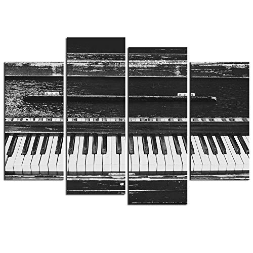 sechars - 4 Piece Canvas Wall Art Black and White Piano Keyboard Pictures Painting Music Canvas Artwork for Home Office Bedroom Decor Decoration with Frame Music Gifts for Students