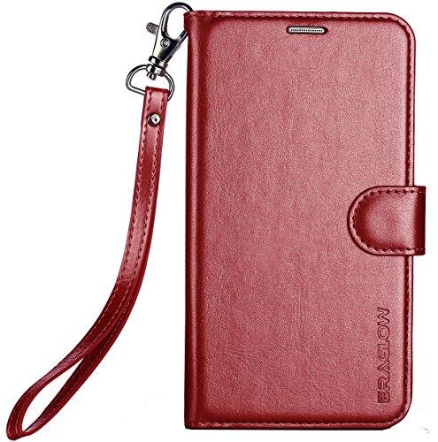 ERAGLOW Galaxy J7 2018 Case/J7 V Case 2018/Galaxy J7 Refine Case/Galaxy J7 Star Case, Luxury PU Leather Wallet Flip Protective Case Cover w Card Slots & Stand for Samsung Galaxy J737 (Wine Red)