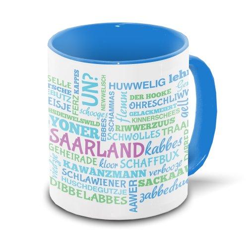 Saarland-Tasse mit typischen Wörtern im saarländischen Dialekt – Tagcloud – weiß/blau