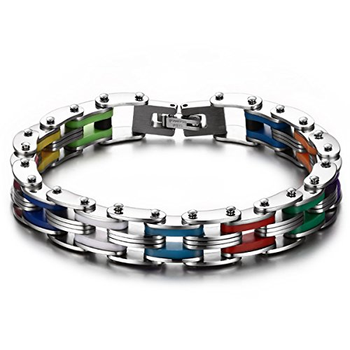 JewelryWe Mens Punk Rainbow Silicone Stainless Steel Bike Bicycle Chain Bracelet, 8.1 Inch
