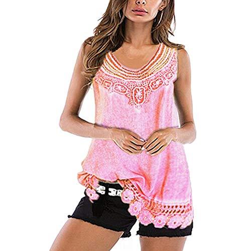 Camicia Donna Camicetta Donna Elegante Monocromatico Moda Sexy Senza Maniche Casual Top Nuova Minimalista Casual Comoda all-Match Camicia da Donna B-Pink M