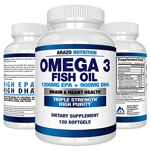 Omega 3 Fish Oil 2250mg  High EPA 1200MG  DHA 900MG Triple Strength Burpless Capsules  Arazo Nutrition 120 Count