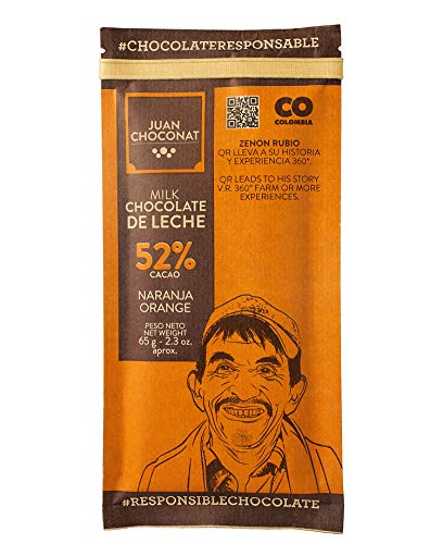 Juan Choconat Milk Chocolate Bar With Orange (52% Cacao) Premium Non-GMO Organic Chocolate from Colombia -Gluten-Free, Natural, and Fair Trade Chocolate - Responsible Chocolate. 2.3 oz each (8 Pack)