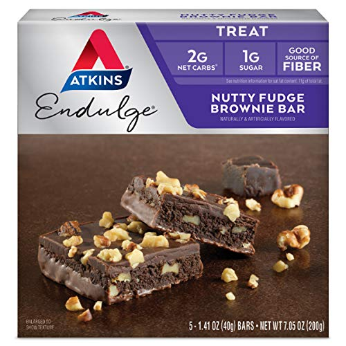 Nutty Fudge Brownie Bar is an Atkins Endulge Treat. Brownie Treat with a Chocolate Coating and Walnuts. Ketogenic-safe. (5 Bars) by Atkins