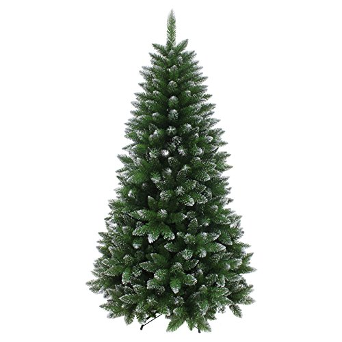 Mr Crimbo 7ft Silver Glitter Tipped Artificial Christmas Tree Green Indoor Xmas Decoration