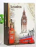 FGHHJ 100 Bolsillos 4X6 Pulgadas Viaje Intercalado Tipo Torre Patrón Papel Impreso Cubierta Vintage Retro Álbumes, Londres