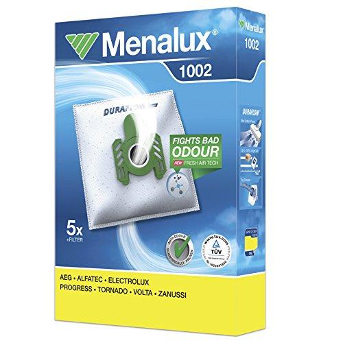 Menalux 1002 5 Staubbeutel (Synthetik Staubbeutel, hohe Saugleistung & Filtration, Hygieneverschluss, Anti-Geruch, neutralisiert Gerüche, reißfest, +50% Lebensdauer, weiß)