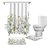 ZHEXI Duschvorhang-Set Frühlingsblume Vanille Wildblume Anti-Rutsch Teppich WC-Abdeckung & Badvorleger Wasserdicht Badezimmer Vorhang