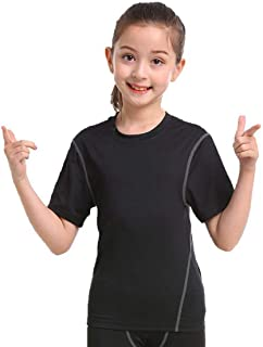 Boys Girls Compression Soccer Undershirts Short Sleeve Child's Athletic Tops