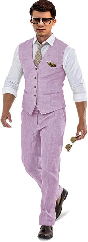 Men's 2 Piece Selling Linen Suit Set Blazer Jacket Tux Vest fo and National uniform free shipping Pants