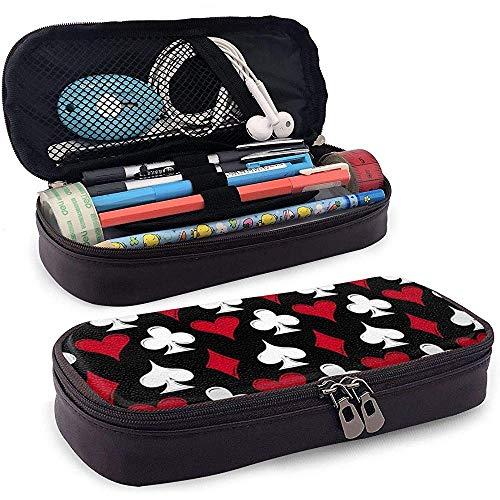Spielkarte anzüge pu leder federmäppchen tasche mit reißverschluss niedlich stift federmäppchen box schreibwaren box