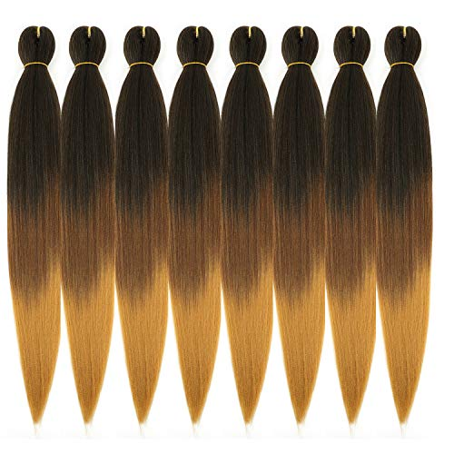 Ombre Pre Stretched Braiding Hair, Top Silky Color Blend Braid Hair Extensions, 100% Kanekalon Synthetic Crochet Hair Braids, Yaki Texture Hair Braiding 0.21LB/bundle (28''-8 bundles, 1b-30-27)