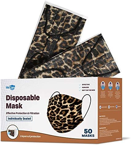 WeCare Disposable Face Mask Individually Wrapped 50 Pack Leopard Print Masks 3 Ply product image