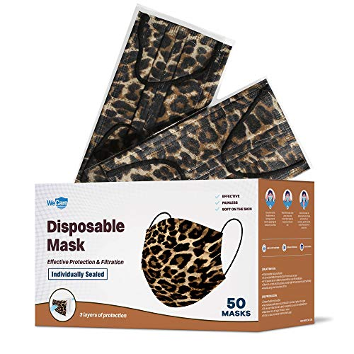 WeCare Disposable Face Mask Individually Wrapped - 50 Pack, Leopard Print Masks - 3 Ply