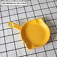 食器プレート、シングルハンドルフルーツサラダディナープレートディッシュトレイとマットセラミックディッシュラウンドプレートパスタラザニアパン zhengpingpai (色 : Round Black)