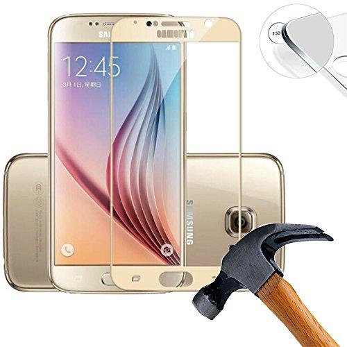 Lusee 3 Pezzi Vetro Temperato per Samsung Galaxy S6 SM-G920F [Piena Copertura] Pellicola Protettiva [Durezza a 9H] [Chiaro HD] Anti Graffio/Anti Impronta 2.5D per Schermo per Samsung Galaxy S6 d'oro