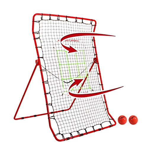 Rukket Pitch Back Baseball/Softball Rebounder PRO w/ 2 PurePower Weighted Balls, Adjustable Pitching Target, and High Visibility Bases | Pitching and Throwing Practice Partner | Adjustable Angle