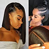 Short Bob Lace Front Wigs 10' Human Hair Pre Plucked Thick 150% Density Brazilian Straight Bob Hairstyle 13x6 Middle Part Frontal Lace Wigs Bleached Knots
