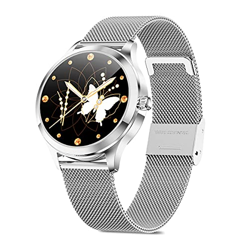 skynew Smartwatch Mujer, Reloj Inteligente Mujer con Pulsómetro, Impermeable IP68, Control de Musica, Monitor de Sueño, Calorías, Podómetro, Reloj Deportivo Mujer para iOS y Android Plata