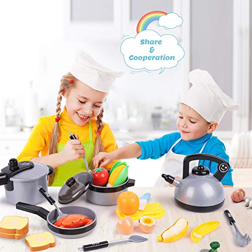 iPlay, iLearn Kids Kitchen Pretend Play Toys, Cooking Set, Pots and Pans, Cookware Playset, Cutting Vegetables, Knife, Utensils, Learning Gift for 3, 4, 5 Years Old Baby, Girls, Boys, Toddlers (Grey)