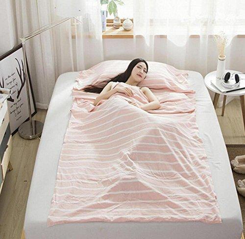 Sac de couchage Outdoor Liner Coton à rayures Tissu Portable ultraléger simple/double Sacs de couchage Camping sommeil Sac de voyage Kits, rose