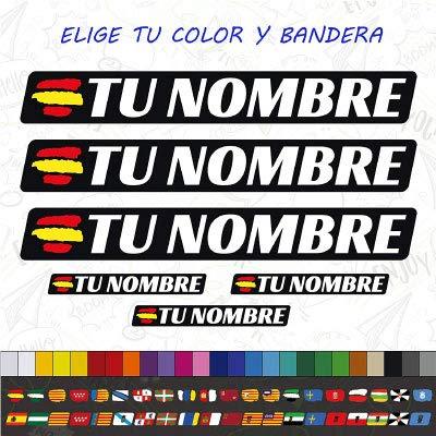 CUAC REVOLUTION 6 x Bandera ESPAÑA Nombre Pegatina EN Vinilo para Moto Bici Casco BTT Bicicleta Personalizable