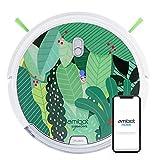 AMIBOT Signature Edition Jungle - Robots Aspirateurs et laveurs connecté iOS/Android (Capot réalisé par Une Artiste française, Capot fabriqué et monté en France)