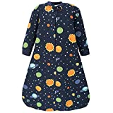 Hudson Baby Unisex Baby Premium Quilted Long Sleeve Sleeping Bag and Wearable Blanket, Solar System, 12-18 Months