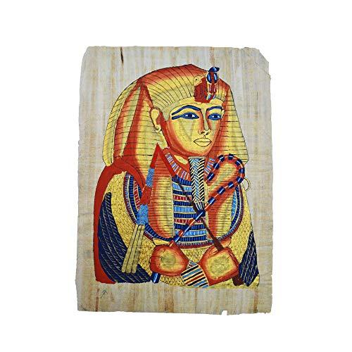 Horus Artesanía de Egipto Originaler Papyrus, handgefertigt und handgemalt in Ägypten, Maske des Tutanchamun, Maße 44 x 64 cm. Ungefähr