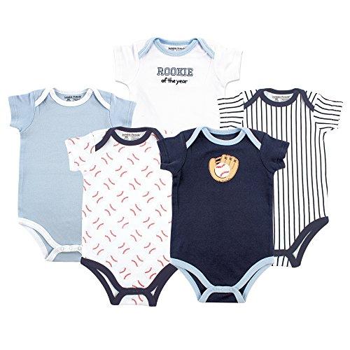 Luvable Friends Cotton Bodysuits, 5 Pack Body, Lot de 5 Ballons de Baseball à Manches Courtes, 1 Mois Bébé Fille
