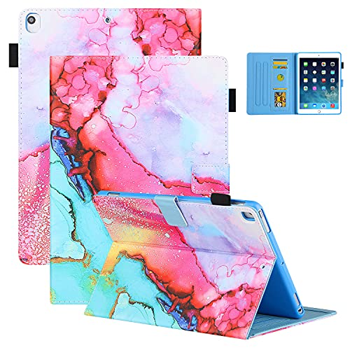 Coopts iPad 9.7 inch Case 2018 2017, iPad Air Case with Pen Holder, iPad Air 2 Cover, Stand PU Leather Wallet Protective Auto Sleep Wake Wallet Case for iPad 9.7' 6th/5th Gen 2018/2017, Aquarelle