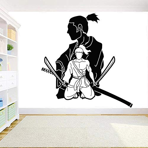 Vinilo Samurai Oriental Arte marcial Papel de guerrero japonés para el hogar Etiqueta de la pared