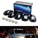 iJDMTOY Smoked Lens White LED Cab Roof Running Lamps Compatible With Chevrolet Dodge GMC Ford RAM Nissan Toyota Trucks, 5-Piece Roof Running Light Set