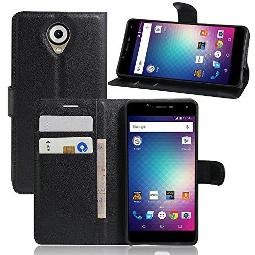 Qiaogle Teléfono Case - Funda de PU Cuero Billetera Clamshell Carcasa Cover para BLU R1 HD (5.0 Pulgadas) - FC02 / Negro Estilo